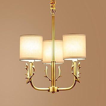 GroBartig MULANG American Bronze Kronleuchter, Wohnzimmer Licht, Europäische Einfache  Tuch Zimmer Restaurant Kronleuchter, Moderne