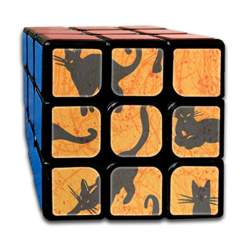 Rubiks Cube Halloween Black Cats Custom Personalized Speed Cube 3x3 Smooth Magic Cube Puzzle Game Black -