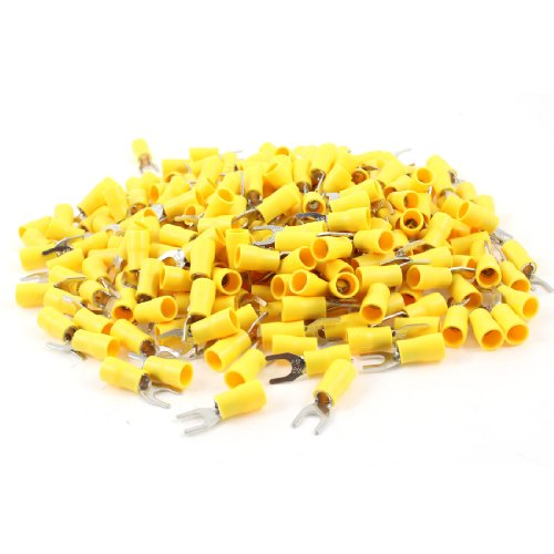 - Uxcell SV5.5-5 Pre Insulated Fork Terminal for AWG 12-10 Wire and #10 Stud, 500 Piece, Yellow