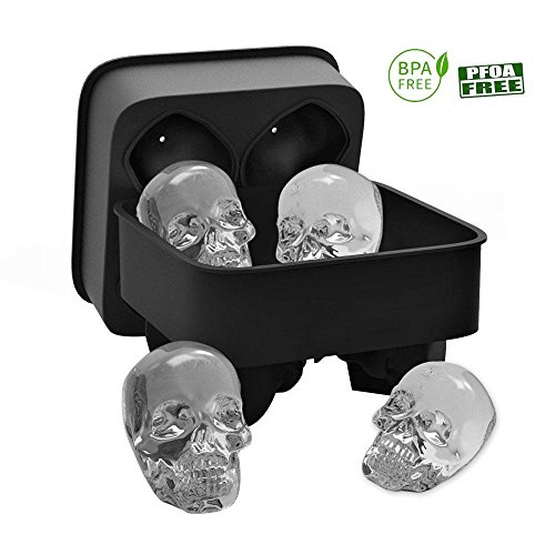 3D Skull Silicone Ice Cube Tray Mold, Makes Four Giant Skulls, Ice Cube Maker in Shapes for Chilling Bourbon, Whiskey, Cocktail, Beverages and More, Black -