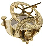"Solid Brass 3"" Sundial Compass - W/ Inlaid Hardwood Box"