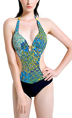69245c5639c1a Smibra Womens Backless Low Cut Monokini Hollow Out Peacock Tribal One Piece  Set 2017