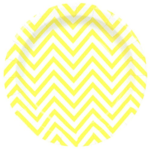 Just Artifacts Round Paper Party Plates 9in (12pcs) - Lemon Yellow Chevron - Decorative Tableware for Birthday Parties, Baby Showers, Grad Parties, Weddings, and Life Celebrations!