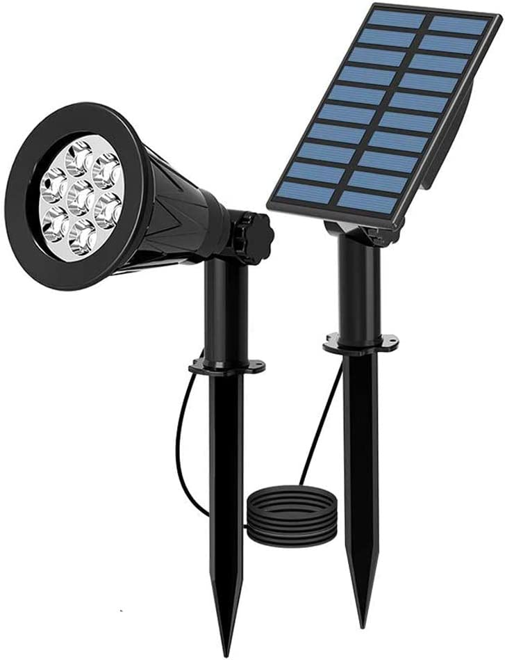 [1 Pack]T-SUN LED Solar Spotlights, Waterproof Outdoor Security Landscape Lamps, Auto-on/Auto-Off by Day, 180 Angle Adjustable for Tree, Patio, Yard, Garden, Driveway, Stairs, Pool Area