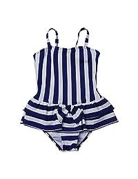 QRH Big Girls Poptical Stripes Sport Splice 1 Piece Swimsuit