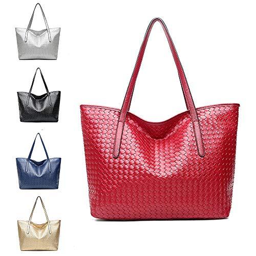 Women Top Handle Satchel Large Capacity Bags Handbags Shoulder Tote Bag-Red ()