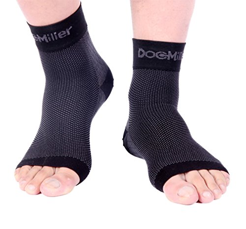 - Doc Miller Plantar Fasciitis Socks Medical Grade Compression Foot Sleeves - Ankle Arch & Heel Support Achilles Tendon Support, Heel Spurs Tendonitis, Joint Pain Eases Swelling (Black, Small)