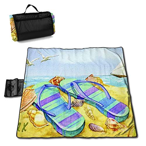 Socira Relax Flip Flop Watercolor Large Picnic Blanket Water Resistant Beach Blanket Machine Washable Outdoor Blanket Folds Into A Tote Bag
