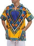 Full Funk Dashiki Light Hoody Africa Heart Festival Party Shirt Short Sleeve, X-Large, Yellow