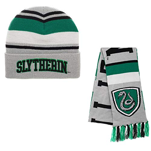 Harry Potter Slytherin House Beanie Hat and Scarf Set