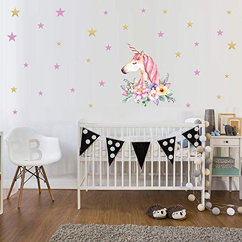 KUYUE Wall Decals Stars Flower Unicorn Wall Decal Removable Wall Stickers for Girls Bedroom Nursery Playroom