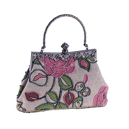 etnico perline di Vola rosa sera lino classica sera Borsa borsa Borsa borsa da da rosa in cheongsam Eqqw5zRx