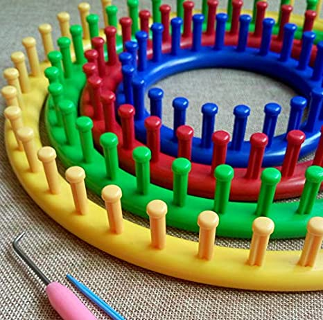 Long+Round+Pompom Maker Wayion Knitting Loom Set with Hook Needle Kit Yarn Cord Knitter 4 Hat Looms