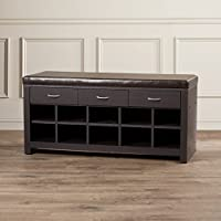 Glam Style Miramar Wood Espresso Finish Storage Entryway Bench with 3 Drawers and 10 Shoe Storage Cubbies 20.1 H x 41.8 W x 15.6 D