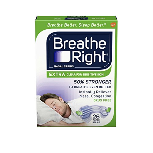 Breathe Right Nasal Strips to Stop Snoring, Drug-Free, Extra Clear, 26 count ()