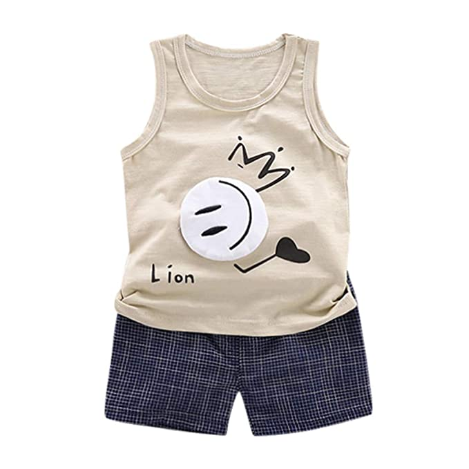 Toddler Kid Baby Boy Clothes Lion T-shirt Tops Denim Shorts Pants Outfit Set