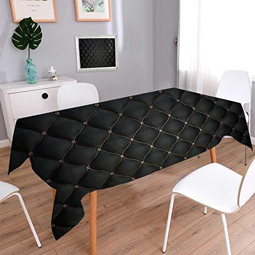PINAFORE HOME Decorative Jacquard Rectangle Tablecloth Black Leather 415% Cotton, Machine Washable/W54 x L102 Inch
