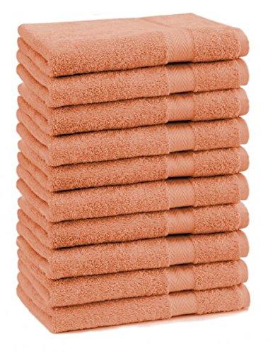 Betz 10er Pack Seiftücher Set Größe 30x30 cm 100% Baumwolle Seiflappen Premium Farbe Orange Terra