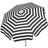 Heininger 1343 DestinationGear Italian Black and White 6' Acrylic Striped Bar Height Pole Umbrella
