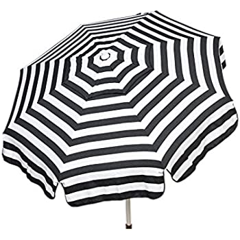 Heininger 1342 DestinationGear Italian Black And White 6u0027 Acrylic Striped  Beach Pole Umbrella
