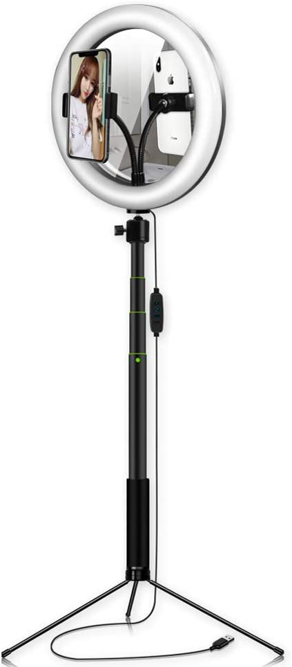QYRL 26Cm Photo Ring Light with Tripod Stand//Phone Holder//Mirror Kit Ring Fill Lights for Makeup Live Stream Tiktok YouTube Video