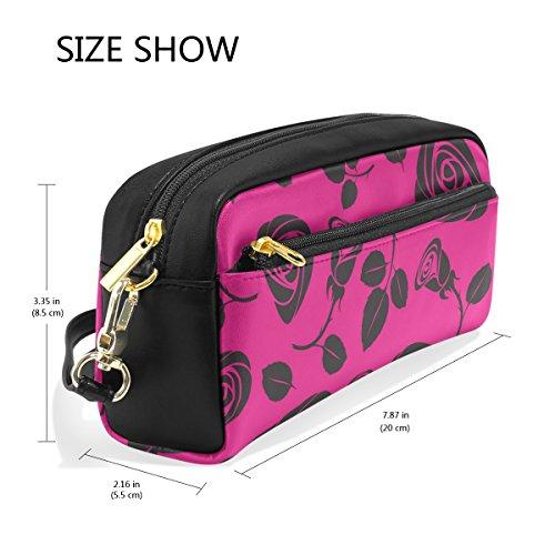 Schlamperrolle, Rose bedruckt Reise Make-up Pouch Large Wasserdicht Leder 2Fächer für Mädchen Jungen Damen Herren Pink