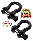 "3/4"" Shackles - 2 Pack - Rugged 4.75 Ton - Capacity (9,500 Lbs) – Anti Rust Powder Coated - Heavy Duty D Ring for Vehicle Recovery, Towing, Winching & Ridging - Accessory for Trucks, Hummers & Jeeps"