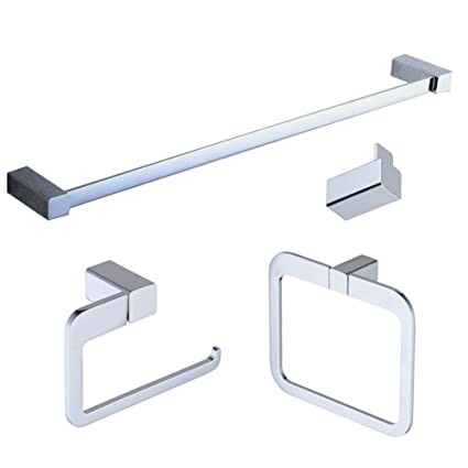 Beelee Chrome Bathroom Accessories Set, Wall Mounted Towel Bar Holder Bath  Hardware Accessory Set