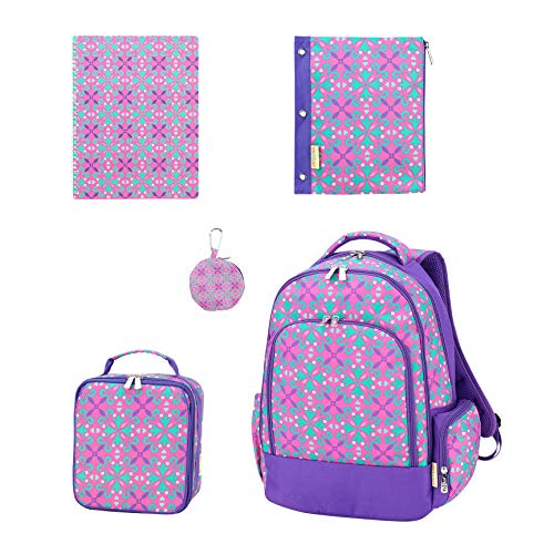 - Lila Purple Quatrefoil 17 x 12 Polyester Backpack Lunchbox Accessories Set