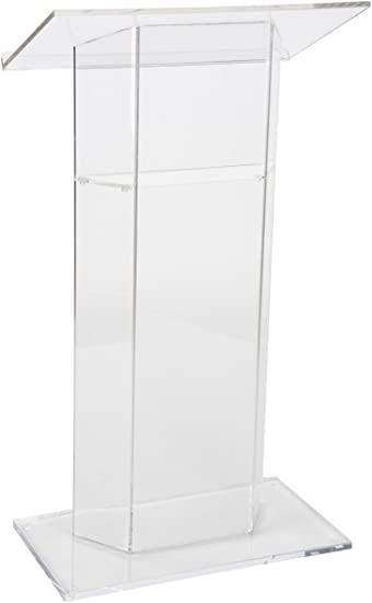 Inner Shelf Thick Acrylic Displays2go Clear Church Pulpit Lectern LECTCV No Assembly Pedestal Base