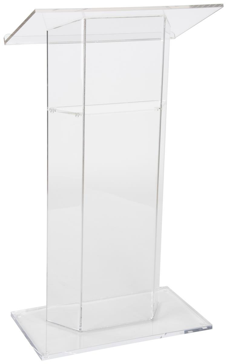 Displays2go Clear Church Pulpit Lectern, Thick Acrylic, No Assembly, Inner Shelf, Pedestal Base LECTCV
