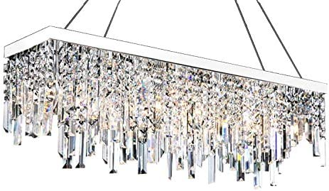 Moooni Contemporary Rectangle Crystal Chandelier Modern Hanging Pendant Lighting for Dining Rooms Raindrop Linear Design L40 x W8 x 12