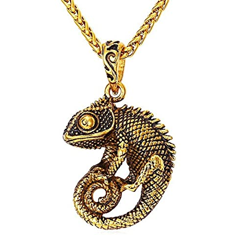 Men Cool Chameleon Necklace 18K Gold Plated Black Enamel Vintage Animal Pendant with 22 Inch Chain (Necklace For Men Cool)