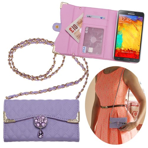 (Xtra-Funky Case Compatible with Samsung Galaxy Note 3 (N9000), Luxury Faux Leather Quilted Handbag Purse Style Cover with Carry Strap and Beautifully Decorated Crystal Flower - Purple)