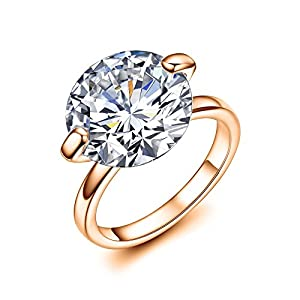 Serend 18k Rose Gold Plated 7 Carat Round Cut Cubic Zirconia Wedding Engagement Band Ring, Size 7