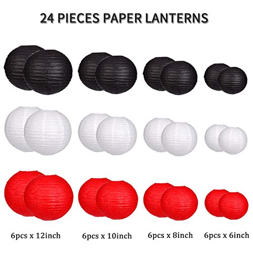 24pcs Round Paper Lanterns for Wedding Birthday Party Baby Showers Decoration Black/Red by Zilue (Image #1)