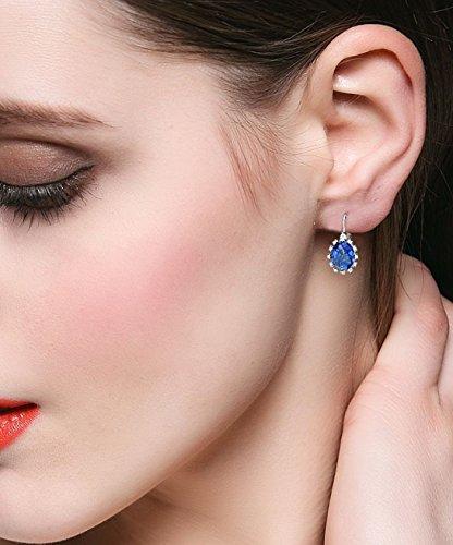 EVER FAITH® - Classicisme - Boucle d'Oreilles Argent 925 Oxyde de Zirconium Ovale Couleur de Saphir