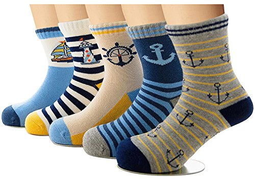 Christmas Soft Stocking (Bobo 5 Pack kids Boys Fashion Cotton and Soft Cute Breathable Christmas Socks size8-11years)