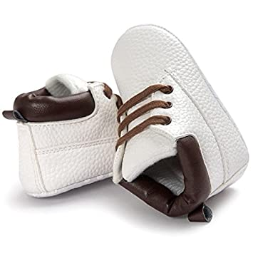 White, 12-18M Baby Toddler First Walkers Sneakers Shoes Boys Girls Moccasins Soft Sole Lightweight Leather Flats Sports Running Shoes
