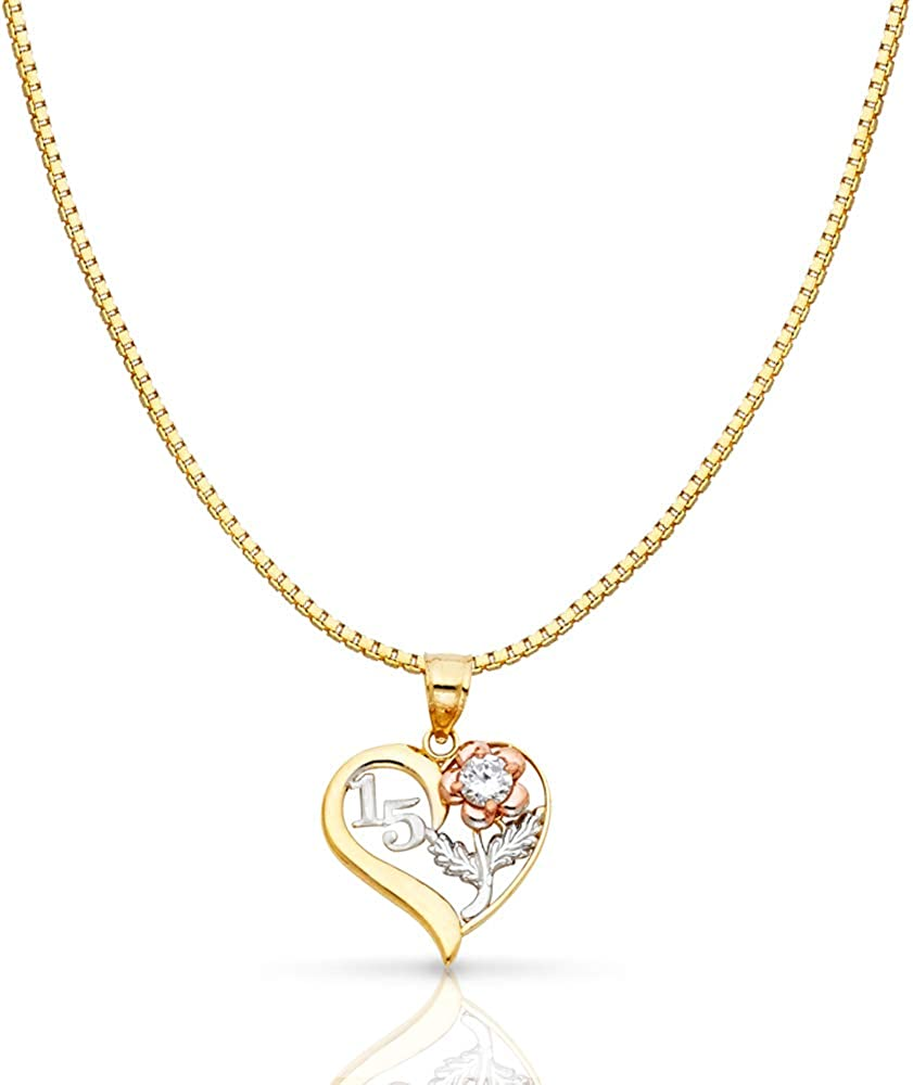 14K Tri Color Gold Sweet 15 Years Quinceanera Virgin Mary Round Charm Pendant with 0.8mm Box Chain Necklace