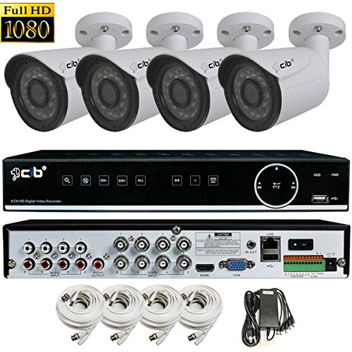 Cheap CIB True Full HD 8CH 1080P Recording and Display DVR system with 1TB HDD and 4 2Megapixel Bullet Cameras Network Remote Viewing — H80P08K1T56W-4 KIT-W