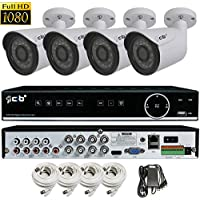 CIB True Full HD 8CH 1080P Recording and Display DVR system with 1TB HDD and 4 2Megapixel Bullet Cameras Network Remote Viewing -- H80P08K1T56W-4 KIT-W