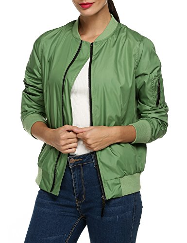 Short Womens Jacket Green Jacket Padded Classic Coat 2 Army Quilted Zeagoo Bomber FIOpwqxq