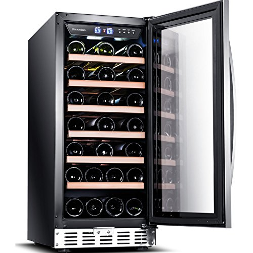 """Sinoartizan 15""""Compressor Wine Cooler 33 Bottle ST-33S Built-in or Freestanding Wine refrigerator with Stainless Steel & Double-Layer Tempered Glass Door and Temperature Memory Function (Built In Double Refrigerator)"""