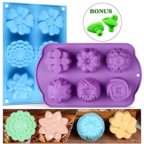 Silicone Soap Molds - Flower Assorted Silicone Molds for Ice Cube Tray, Handmade Jelly, Soap, Pudding, Muffin, Cupcake with Bonus 2 Silicone Wine Stopper and Pourer