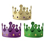 "Mardi Gras Paper Party Crown Costume Headwear, Cardstock, 4"" x 7"", Pack of 12."