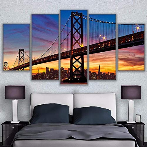 HAFZY 5 Canvas Paintings Frame Home Decor Canvas Abstract Decorative Paintings Bay Bridge Modern Pictures Wall Art