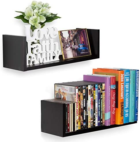 Wallniture U Shape Wall Mount Floating Wood Book Shelves Picture Ledge Media Storage Black Set of 2