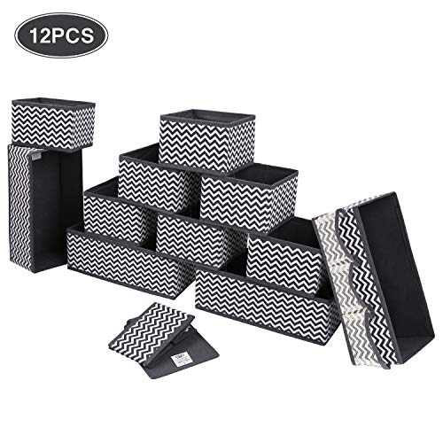 DIMJ 12 Pack Drawer Organizer Dresser Dividers, Closet Foldable Storage Bins Fabric Storage Cubes Bins Containers for Underwear, Bras, Socks, Ties, Scarves, Panties, Lingeries, Nursery Baby Clothes