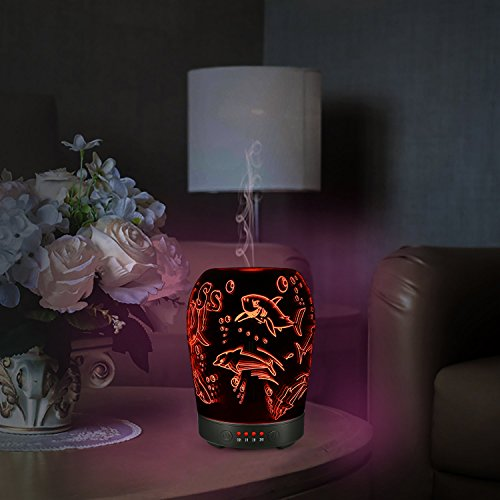 COOSA 100ml Glass 3D Shark Pattern Aromatherapy Oil Diffuser Essential Oil Ultrasonic Cool Mist Humidifier with 7 Color Changing LED lights for Home Office Bedroom Living Room (Colorful -1)